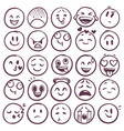 doodle emoticons emoji with different expression vector image vector image