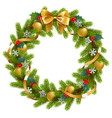 fir wreath with mistletoe vector image vector image