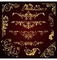 Floral set of golden ornate page decor vector image