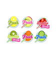 fresh smoothies logo set lemon apple strawberry vector image