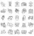 gardening hand drawn icon set outline black vector image vector image