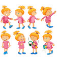 girl in pink dress doing different things vector image vector image