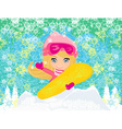 Girl with the snowboard abstract background vector image