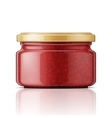 Glass jar with raspberry jam vector image vector image