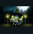 happy zombie celebrate halloween party outdoors at vector image vector image