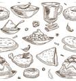 indian cuisine sketch pattern background vector image vector image