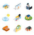 insurance broker icons set isometric style vector image vector image