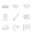 landmarks of india icon set outline style vector image vector image