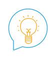 line bulb idea inside chat bubble message vector image