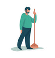 man cleaning garbage cartoon male standing vector image