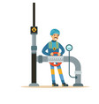 oilman worker on an oil pipeline controlling vector image vector image