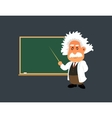 Old professor is showing lesson on the green board vector image vector image