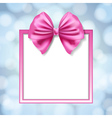pink bow and square box frame vector image vector image