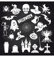 Popular halloween elements set on chalkboard vector image