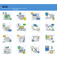 set of web development and office icons vector image