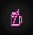 smoothie cup icon in glowing neon style vector image