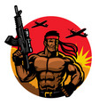 soldier in muscular body mascot vector image vector image