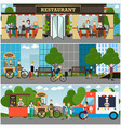 street food and drink establishments flat vector image vector image