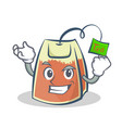 successful tea bag character cartoon vector image vector image