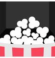 Super Big Popcorn Icon Red White Strip Box Movie vector image vector image