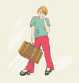 travel of a foot tourist vector image