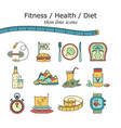 weight loss diet icons set vector image vector image