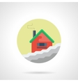 Winter house round flat color icon vector image vector image