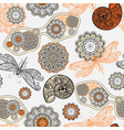 seamless pattern with sunglasses flowers shells vector image
