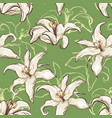 seamless lilies background vector image
