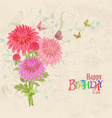 lovely bouquet of pink chrysanthemums on grunge vector image