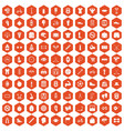 100 kettlebell icons hexagon orange vector image vector image