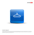 add clothing item on hanger icon - 3d blue button vector image vector image