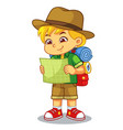 adventure girl looking on her guide map vector image vector image