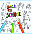 back to school poster with doodles drawn by hand vector image vector image