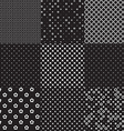 black and white different seamless patterns vector image vector image