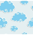 Blue clouds with white border seamless pattern vector | Price: 1 Credit (USD $1)