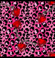 brush painted tiger seamless pattern pink leopard vector image
