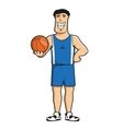Cartoon basketball player with ball vector image