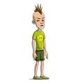 cartoon funny punk boy character mohawk vector image