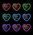 color neon light hearts set with celebration text vector image vector image
