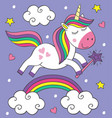 cute little unicorn flies over the rainbow vector image vector image