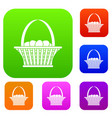 easter basket set color collection vector image