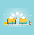 file transfer concept with folder and files vector image vector image