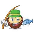 fishing macadamia mascot cartoon style vector image vector image