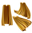 golden superhero cape cloak with triangle pin vector image vector image
