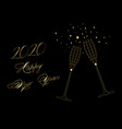 happy new year 2020 gold wine glass toasting vector image vector image