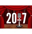 Happy New Year on the background of the stage with vector image vector image