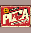 homemade delicious pizza vintage sign post vector image vector image