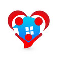 house and people agents in heart shape icon vector image vector image