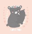 i love you cute cartoon mom bear hugging baby